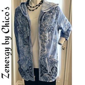Chico's Zipper Hoodie Jacket Cardigan Sz 3 (16)